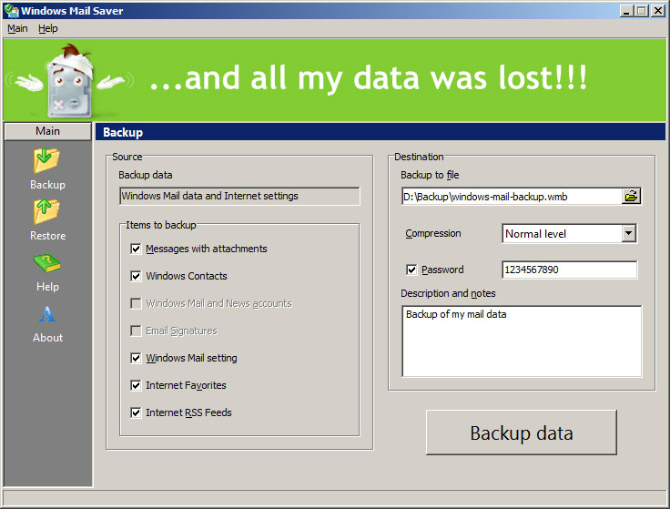 Backup software for Microsoft Windows Mail